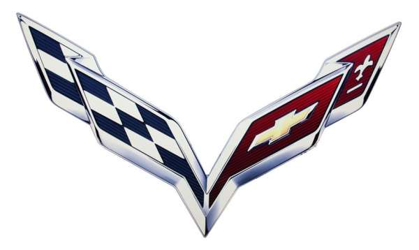 C7 Corvette 2014+ Metal Crossed Flag Logo Sign - Size ...
