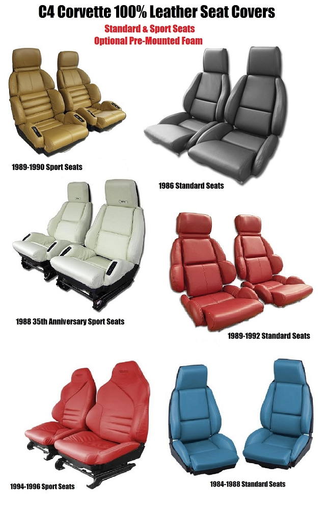 C4 corvette 1984 1996 100 leather seat covers pair - Interior leather bar free online ...