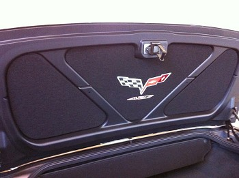 C5 C6 1997-2013 CORVETTE TRUNK/ DECK LID LINER INSERT EMBROIDERED - MULTIPLE LOGOS