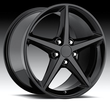 Corvette C6 05-13 2011 Style Black Wheel Set 18x8.5/19x10