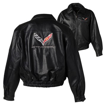 C7 Corvette Stingray 2014+ Mens Leather Bomber Jacket