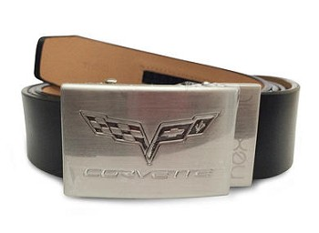 "C6 ""Corvette"" 2005-2013 Crossed Flags Emblem Belt - Nickel"