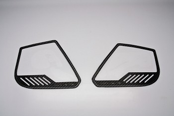 "C7 Corvette Stingray 2014+ Hydrocarbon Carbon Fiber Door Speaker Trim Rings ""Corvette"" Style - 4Pc"