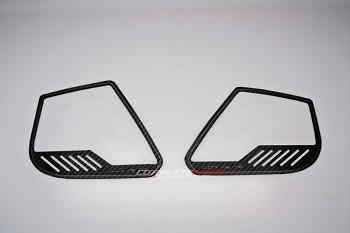 "C7 Corvette Stingray/Z06 2014+ Hydro Carbon Fiber Door Speaker Trim Rings ""Corvette"" Style - 4Pc"
