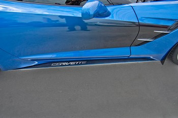 "C7 Corvette Stingray 2014+ Stainless Steel Side Skirts W / Carbon Fiber Overlay - ""Corvette"" Style"