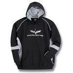 C6 Corvette 2005-2013 Two Tone Hooded Sweatshirt - Crossed Flags Logo
