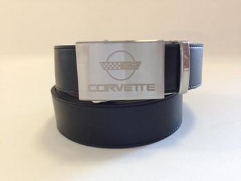 "C4 ""Corvette"" 1984-1996 Crossed Flags Emblem Belt - Nickel"