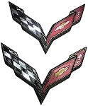C7 Corvette Stingray 2014+ Hydrocarbon Carbon Fiber Crossed Flags Emblem - Front / Rear