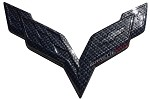 C7 Corvette Stingray/Z06 2014+ Hydro Carbon Fiber Crossed Flags Emblem - Front / Rear
