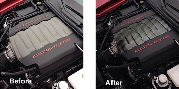 C7 Corvette Stingray 2014+ Hydro Carbon Fiber Engine Plenum Cover Overlay