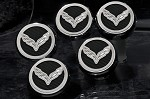 C7 Corvette Stingray/Z51/Z06 2014+ Flag Emblem W/ Carbon Fiber Fluid Cap Cover Set