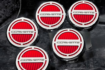"C7 Corvette Stingray/Z06/Grand Sport 2014+ ""Corvette"" Script W/ Carbon Fiber Fluid Cap Cover Set"