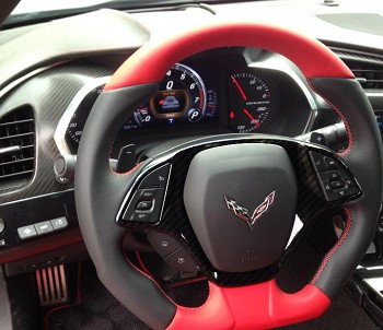 C7 Corvette Stingray 2014+ Hydrocarbon Carbon Fiber Steering Wheel Trim Bezel
