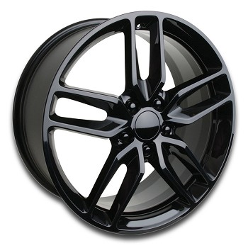 C7 Corvette Stingray Gloss Black OEM Style Z51 Wheels - Fitment For C6 C7 2005-2014+ 19x8.5 / 20x10