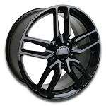 C7 Corvette Stingray Gloss Black OEM Style Z51 Wheels - Fitment For C5 1997-2004 17x8.5 / 18x9.5
