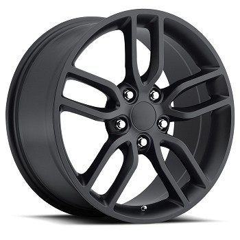 C7 Corvette Stingray Satin Black OEM Style Z51 Wheels - Fitment For C6 C7 2005-2014+ 19x8.5 / 20x10