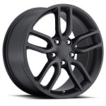 C7 Corvette Stingray Satin Black OEM Style Z51 Wheels - Fitment For C5 1997-2004 17x8.5 / 18x9.5