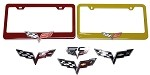 C6 Corvette 2005-2013 Custom Painted License Plate Frames With GM Crossed Flag Emblem Options
