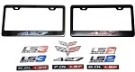 C6 Corvette 2005-2013 Black / Chrome License Plate Frames With Stamped Aluminum Emblems