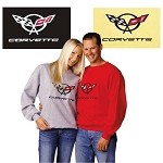 C5 Corvette 1997-2004 Embroidered Sweatshirt - Crossed Flag Logo