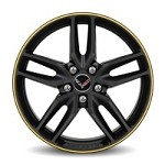 C7 Corvette Stingray 2014+ Satin Black GM Wheels - With Colored Stripe 19x8.5 / 20x10