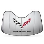 C7 Corvette Stingray 2014+ Logo Accordion Style Sunshade - Insulated Silver