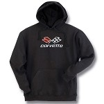 C3 Corvette 1968-1982 Black Hooded Sweatshirt - Embroidered Emblem