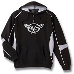 C5 Corvette 1997-2004 Black/Gray Hooded Sweatshirt - Crossed Flags Logo
