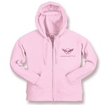 C5 C6 Corvette 1997-2013 Pink Full Zip Hooded Sweatshirt - Embroidered Logo