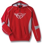C5 Corvette 1997-2004 Red/Gray Hooded Sweatshirt - Crossed Flags Logo