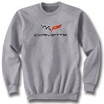 C6 Corvette 2005-2013 Crew Neck Gray Sweatshirt - Crossed Flags Logo