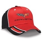 C6 Corvette 2005-2013 Crossflags Logo Red & Black Pique Mesh Cap
