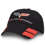 C6 Corvette Grand Sport Crossflags Logo Unconstructed Sport Cap - Black