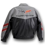C6 Corvette Gray and Black Leather Jacket