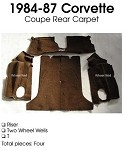C4 Corvette 1984-1987 Coupe Carpet Set Cut Pile - Rear With Pad Options