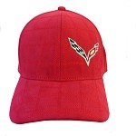 C7 Corvette Stingray 2014+ Stitched Grid Hat W/ Crossed Flags - Red / Navy
