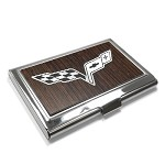 C6 Corvette 2005-2013 Small Business Card Holder - Black Walnut / Steel Crossed Flags