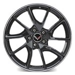 C7 Corvette Z06 2015+ Gloss Black Painted GM Wheels W/ Machined Groove - 19x10 / 20x12