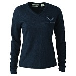 C7 Corvette 2014+ Ladies Charcoal Heather Embroidered V-Neck Sweater