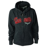 C6 Corvette 2005-2013 Ladies Zip Break Apart Track Hoodie - Heather Gray
