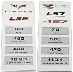 Corvette C6 LS2 LS7 Data Plate