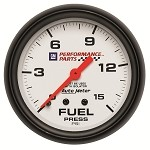 Universal Corvette 1968-2014+ Autometer 2-5/8 inch Fuel Pressure w/ Isolator 0-15 PSI - GM White