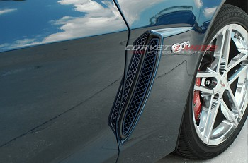 Corvette C6 Z06 Custom Painted Front Fender Side Grille Laser Mesh