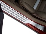 Corvette C6 Brushed Stainless Outer Door Guard w/ Blk Chrome Ribs