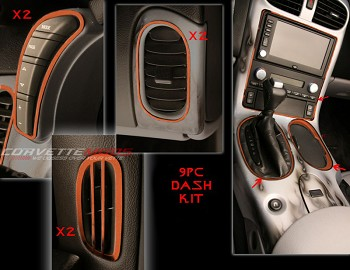Corvette C6 05-13 Custom Painted Interior Dash Trim Kit 9 Pcs