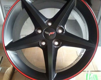 GM OEM C6 Grand Sport Corvette Centennial Edition Black/Red Stripe Wheels