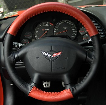 Corvette C5 97-04 Two-Tone Leather Steering Wheel Cover