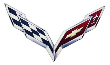 Corvette C7 2014 Metal Crossed Flag Logo Sign - Size Options