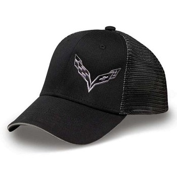 Corvette C7 Stingray Silver Crossed Flags Mesh Cap