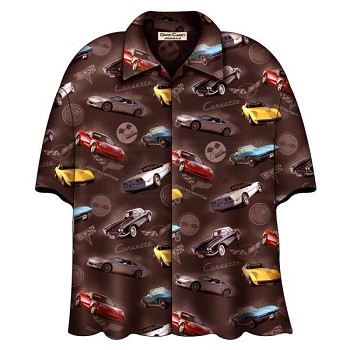 Corvette Brown Camp Shirt, David Carey Design